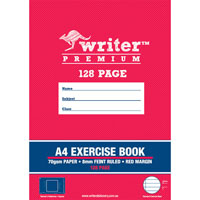 WRITER PREMIUM EXERCISE BOOK FEINT RULED 8MM 70GSM 128 PAGE A4
