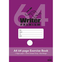 WRITER PREMIUM EXERCISE BOOK DOTTED THIRDS 18MM 70GSM 64 PAGE A4