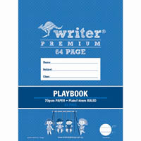 WRITER PREMIUM PLAYBOOK PLAIN/RULED 14MM 100GSM 64 PAGE 330 X 240MM SWINGS