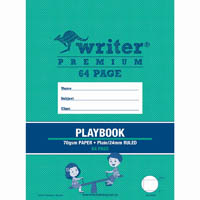 WRITER PREMIUM PLAYBOOK PLAIN/RULED 24MM 100GSM 64 PAGE SEE-SAW