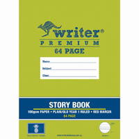 WRITER PREMIUM STORY BOOK QLD RULING YEAR 1 PLAIN / RULED 24MM 100GSM 64 PAGE 330 X 240MM PINEAPPLE
