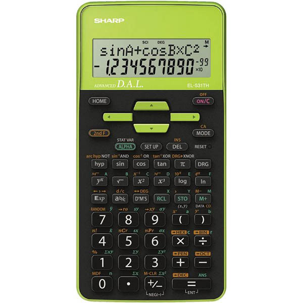 Image for SHARP EL531TH SCIENTIFIC CALCULATOR GREEN/BLACK from Ezi Office National Tweed