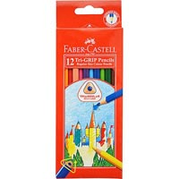 FABER-CASTELL TRI-GRIP TRIANGULAR COLOURED PENCILS ASSORTED PACK 12