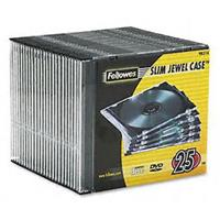 FELLOWES CD JEWEL CASE SLIMLINE BLACK PACK 25