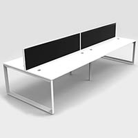 RAPID INFINITY 4 PERSON DOUBLE SIDED MODULAR LOOP LEG WORKSTATIONS WITH SCREENS 1800 X 700MM WHITE