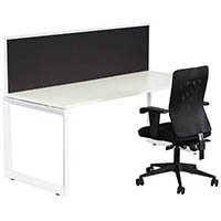 RAPID INFINITY 1 PERSON SINGLE SIDED MODULAR LOOP LEG WORKSTATIONS WITH SCREENS 1800 X 700MM WHITE