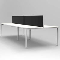 RAPID INFINITY 4 PERSON DOUBLE SIDED MODULAR PROFILE LEG WORKSTATIONS WITH SCREENS 1500 X 700MM WHITE