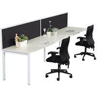 RAPID INFINITY 2 PERSON PROFILE LEG SINGLE SIDED WORKSTATION WITH SCREEN 1500 X 700MM WHITE