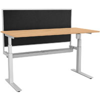 RAPIDLINE PARAMOUNT SINGLE OPEN ELECTRIC HEIGHT ADJUSTABLE WORKSTATION WITH PRIVACY SCREEN 1800 X 750 X 607MM BEECH
