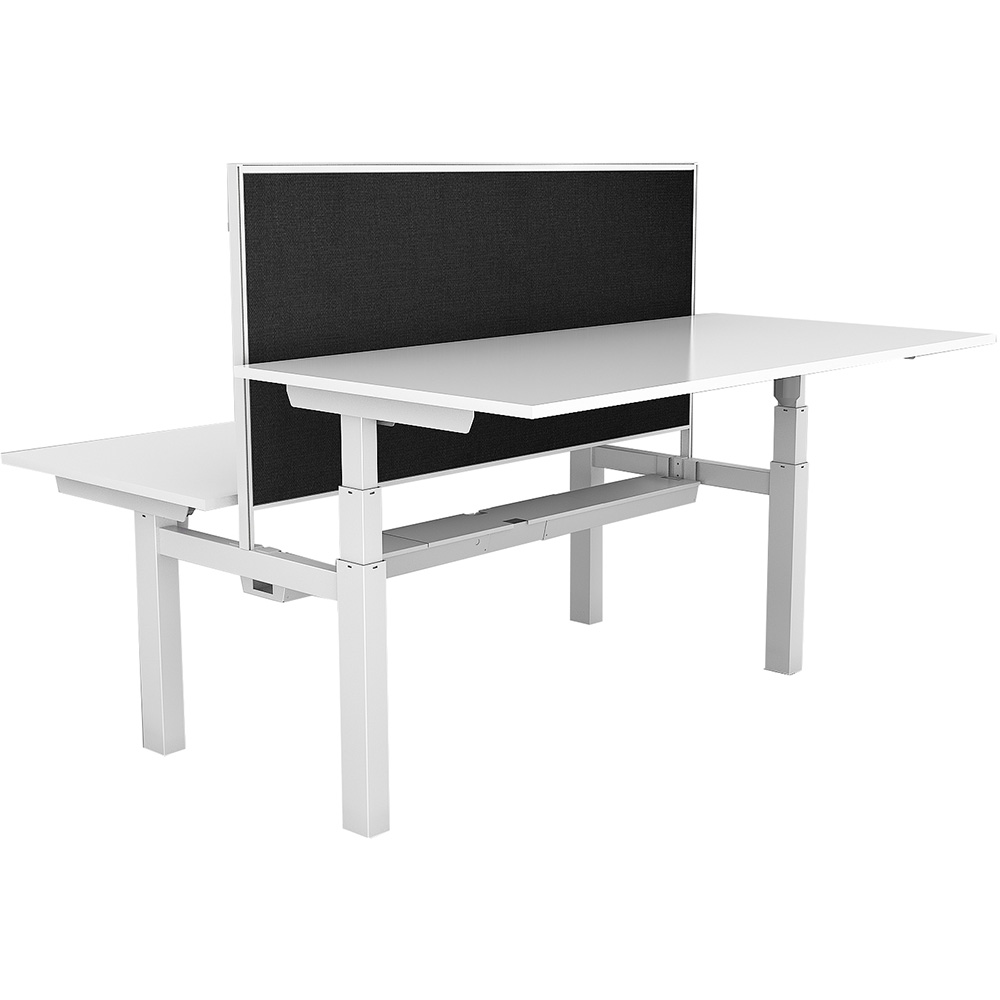 Image for RAPIDLINE PARAMOUNT 2 PERSON BACK TO BACK OPEN ELECTRIC HEIGHT ADJUSTABLE WORKSTATION WITH PRIVACY SCREEN 1800MM WHITE from Wetherill Park / Smithfield Office National