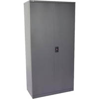 GO STEEL CUPBOARD 4 SHELVES 910 X 450 X 2000MM FLAT PACKED GRAPHITE RIPPLE