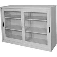 STEELCO GLASS SLIDING DOOR CUPBOARD 1 SHELF 1015 X 1500 X 465MM WHITE SATIN