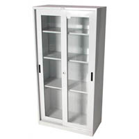 STEELCO GLASS SLIDING DOOR CUPBOARD 3 SHELVES 1830 X 914 X 465MM SILVER GREY