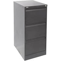GO STEEL FILING CABINET 3 DRAWERS 460 X 620 X 1016MM BLACK RIPPLE