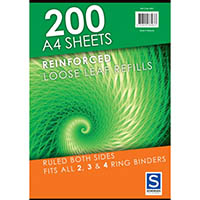 SOVEREIGN REINFORCED LOOSE LEAF PAPER REFILL A4 PACK 200