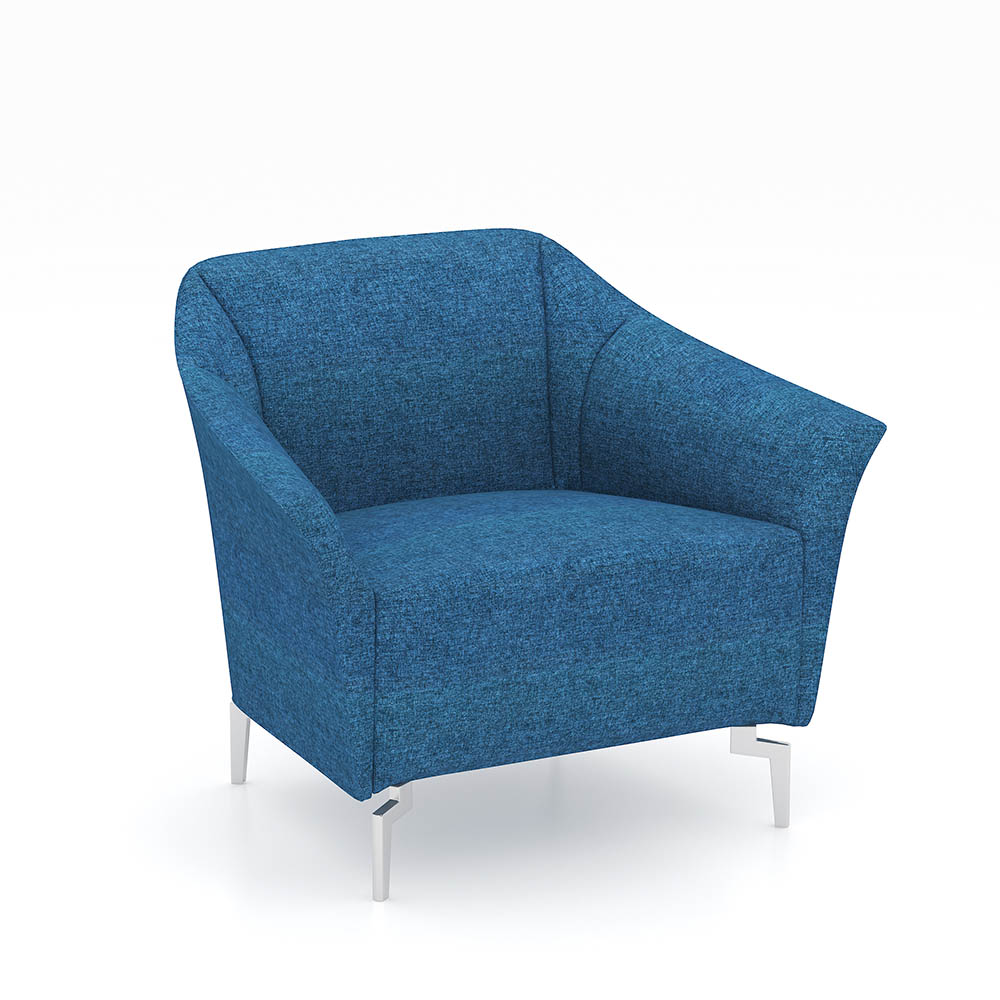 Venice Fabric Sofa Chair Single Seater Blue Office National