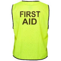 PRIME MOVER MV117 HI VIS VEST DAY USE PRINTED FIRST AID HOOK N LOOP CLOSURE YELLOW LARGE