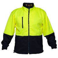 PRIME MOVER MF315 HI VIS FLEECY JACKET WATER REPELLANT 2 TONE FULL ZIP