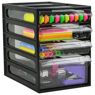 italplast 4 drawer office organiser cabinet black