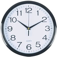ITALPLAST WALL CLOCK 300MM BLACK FRAME / PLASTIC WHITE FACE