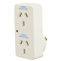 ITALPLAST DOUBLE ADAPTOR WITH SURGE PROTECTION WHITE
