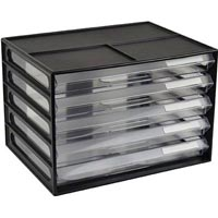 ITALPLAST DOCUMENT CABINET 5 DRAWER A4 BLACK