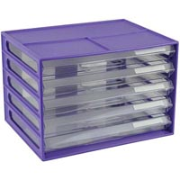 ITALPLAST DOCUMENT CABINET 5 DRAWER A4 GRAPE