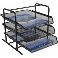 ITALPLAST WIRE MESH DOCUMENT TRAY SET 3 TIER BLACK
