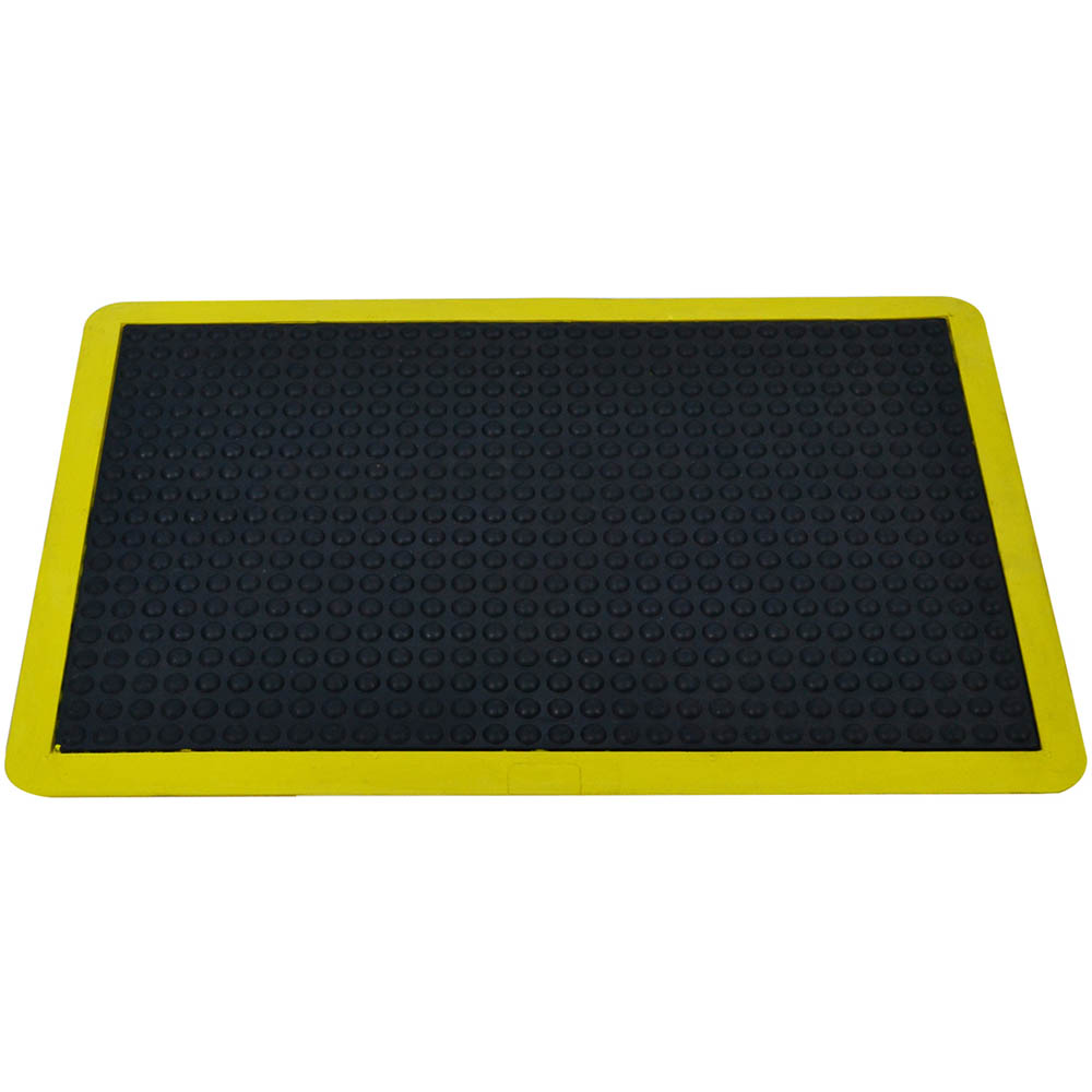 Image for ITALPLAST ANTI-FATIGUE BUBBLE MAT 600 X 900MM BLACK/YELLOW from Pirie Office National