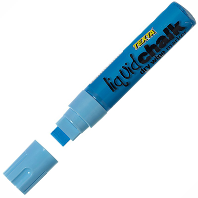 Image for TEXTA JUMBO LIQUID CHALK MARKERS WET WIPE CHISEL 15MM BLUE from Paul John Office National
