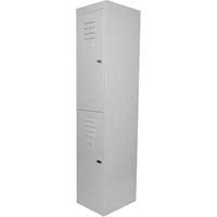 STEELCO PERSONNEL LOCKER 2 DOOR LATCHLOCK 380MM SILVER GREY
