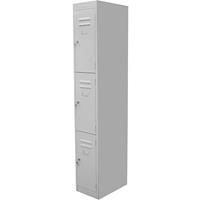 STEELCO PERSONNEL LOCKER 3 DOOR 380MM SILVER GREY