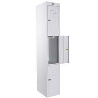 STEELCO PERSONNEL LOCKER 3 DOOR LATCHLOCK 380MM SILVER GREY