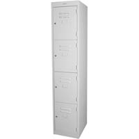 STEELCO PERSONNEL LOCKER 4 DOOR 305MM SILVER GREY