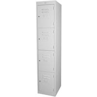STEELCO PERSONNEL LOCKER 4 DOOR 380MM SILVER GREY