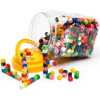 EDUCATIONAL COLOURS LINKING CUBES JAR OF 100