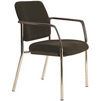 BURO LINDIS 4-LEG VISITOR CHAIR WITH ARMS JETT FABRIC BLACK