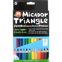 MICADOR COLOURUSH JUMBO TRIANGLE PENCILS FSC PURE PACK 12