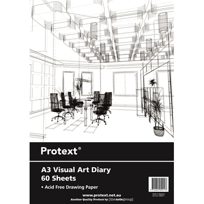Image for PROTEXT VISUAL ART DIARY WITH PP COVER 110GSM 120 PAGE A3 from SBA Office National