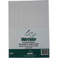 WRITER REAM DOTTED THIRDS 24MM LANDSCAPE 500 SHEETS A4