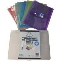 PROTEXT DOCUMENT POCKETS WITH FILING BOX A4 CLEAR/ASSORTED PP PACK 12