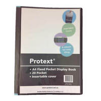 PROTEXT FIXED POCKET DISPLAY BOOK WITH INSERT COVER 20 POCKET A4 BLACK