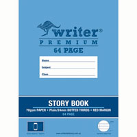WRITER PREMIUM STORY BOOK PLAIN/DOTTED THIRDS 24MM 100GSM 64 PAGE 330 X 240MM TELEPHONE