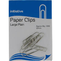 INITIATIVE PAPER CLIP LARGE PLAIN 33MM PACK 1000