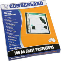 CUMBERLAND COPY SAFE SHEET PROTECTOR PP 70 MICRON CLEAR A4 CLEAR PACK 100