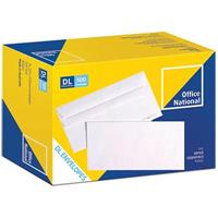 OFFICE NATIONAL DL ENVELOPES PREMIUM CORRESPONDENCE SELF SEAL 80GSM PLAIN SECRETIVE 110 X 220MM WHITE BOX 500