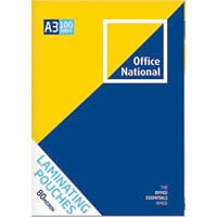 OFFICE NATIONAL LAMINATING POUCH 80 MICRON A3 CLEAR PACK 100