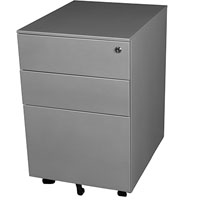 STEELCO TRIMLINE MOBILE PEDESTAL 2 DRAWER 1 FILE 615 X 390 X 500MM SATIN SILVER