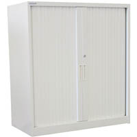 STEELCO TAMBOUR DOOR CABINET 2 SHELVES 1015 X 900 X 463MM SILVER GREY