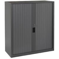 STEELCO TAMBOUR DOOR CABINET 3 SHELVES 1200 X 1200 X 463MM GRAPHITE RIPPLE